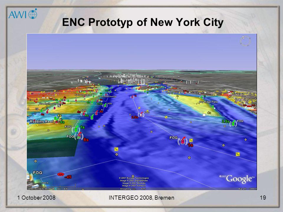 1 October 2008INTERGEO 2008, Bremen19 ENC Prototyp of New York City