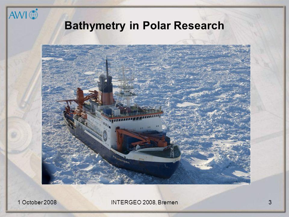 "1 October 2008INTERGEO 2008, Bremen14 Project ""Coolchart Bathymetric Data: MB-Data, 1989-2007 BCWS, 1998 Topographic Data: Radarsat Mosaic, 1997 coast line, contours"