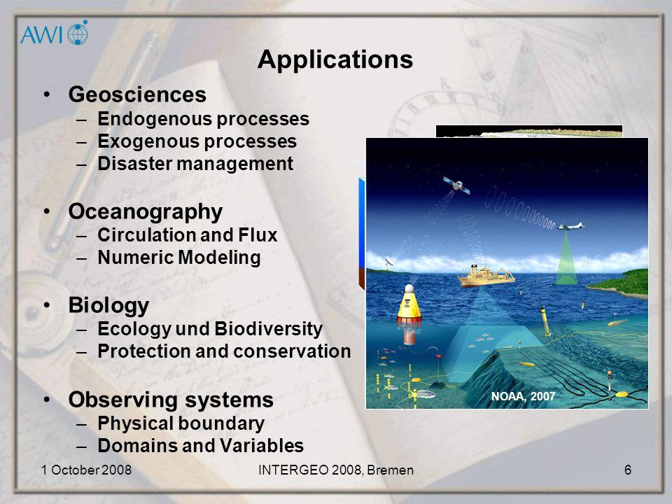 1 October 2008INTERGEO 2008, Bremen7 Scientific Projects Arctic Ocean Fram-Strait (1997) Gakkel-Ridge (2001) IBCAO (current) Southern Ocean BCWS (1998-2001) INT 9057, 9055 (current) IBCSO (current)