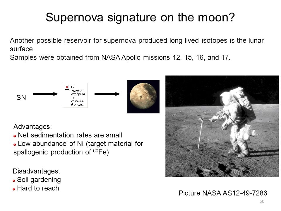 50 Advantages: Net sedimentation rates are small Low abundance of Ni (target material for spallogenic production of 60 Fe) Disadvantages: Soil gardening Hard to reach Picture NASA AS12-49-7286 SN Another possible reservoir for supernova produced long-lived isotopes is the lunar surface.