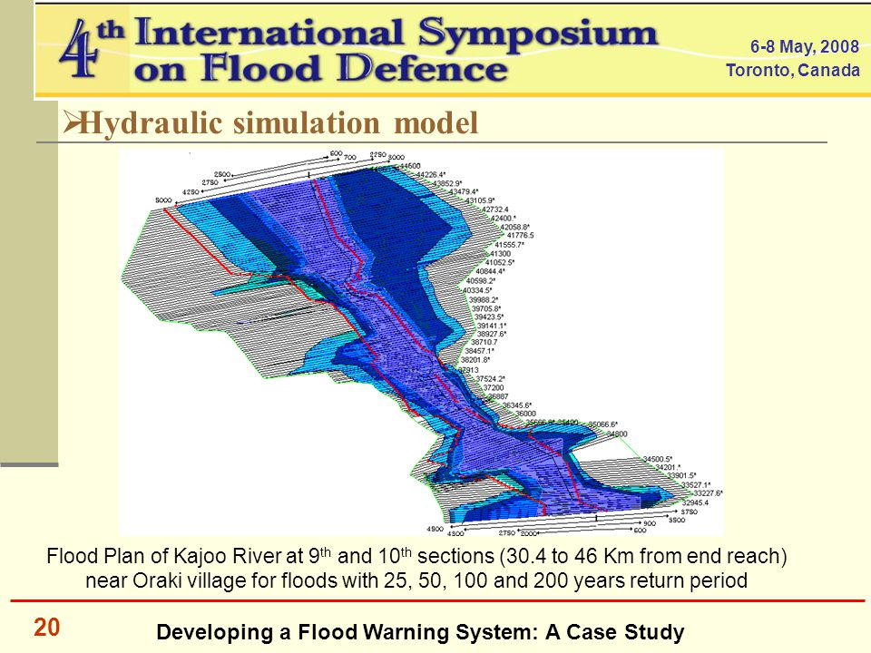 Developing a Flood Warning System: A Case Study 6-8 May, 2008 Toronto, Canada 20  Hydraulic simulation model Flood Plan of Kajoo River at 9 th and 10 th sections (30.4 to 46 Km from end reach) near Oraki village for floods with 25, 50, 100 and 200 years return period