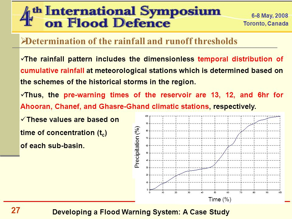 Developing a Flood Warning System: A Case Study 6-8 May, 2008 Toronto, Canada 27  Determination of the rainfall and runoff thresholds The rainfall pattern includes the dimensionless temporal distribution of cumulative rainfall at meteorological stations which is determined based on the schemes of the historical storms in the region.
