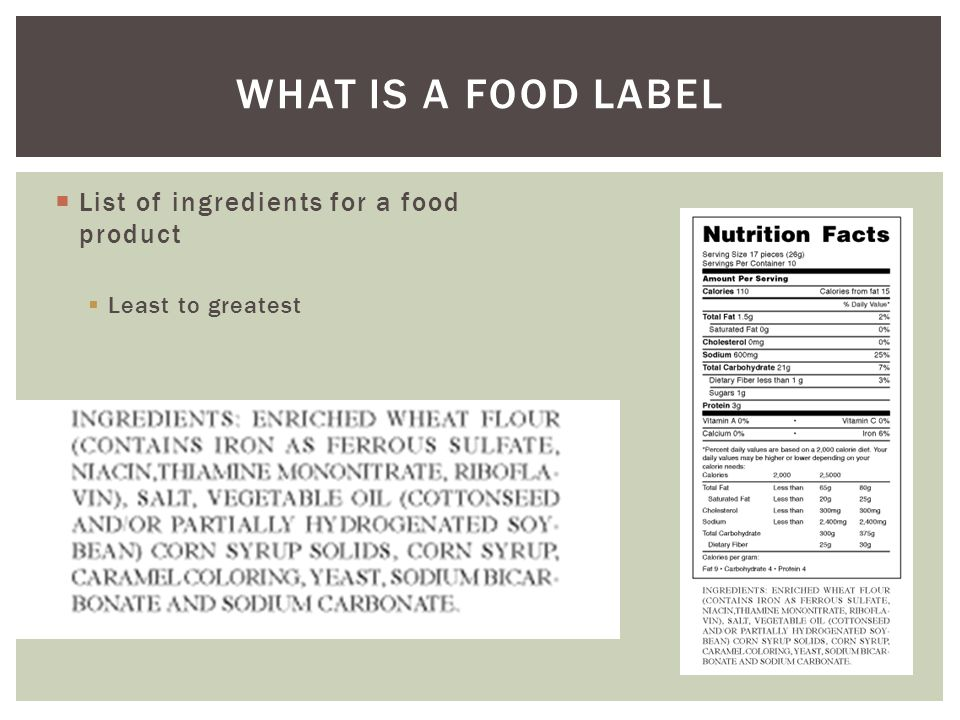 WHAT IS A FOOD LABEL  List of ingredients for a food product  Least to greatest