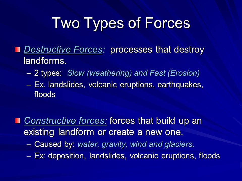 Weathering Weathering: a slow, destructive force that breaks rocks into smaller pieces called sediments.