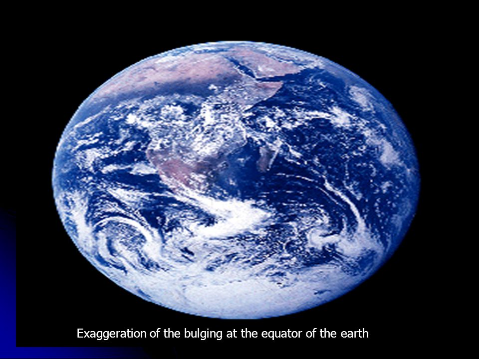 Exaggeration of the bulging at the equator of the earth