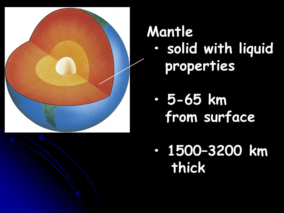 Mantle solid with liquid properties 5-65 km from surface 1500–3200 km thick