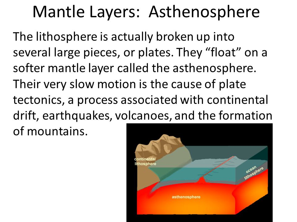 Mantle Layers: Asthenosphere The lithosphere is actually broken up into several large pieces, or plates.
