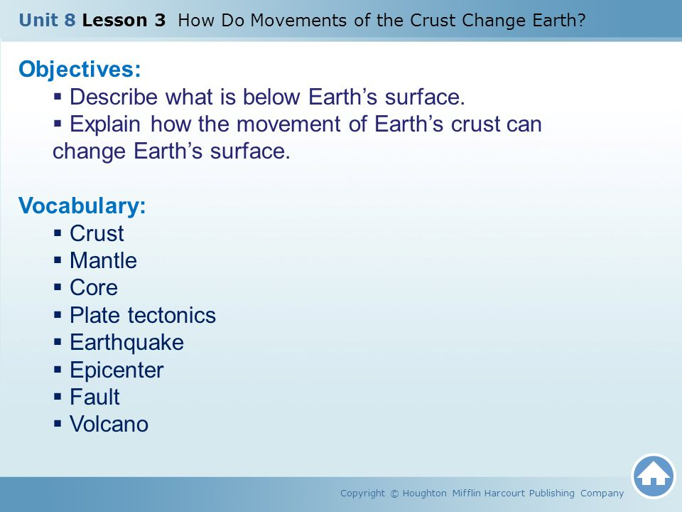 Unit 8 Lesson 3 How Do Movements of the Crust Change Earth? Copyright © Houghton Mifflin Harcourt Publishing Company Objectives:  Describe what is be