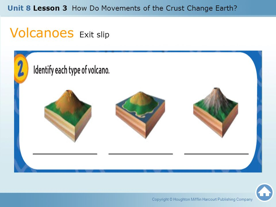 Volcanoes Exit slip Copyright © Houghton Mifflin Harcourt Publishing Company Unit 8 Lesson 3 How Do Movements of the Crust Change Earth?