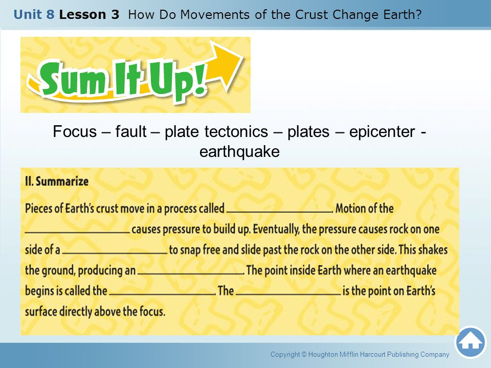 Copyright © Houghton Mifflin Harcourt Publishing Company Unit 8 Lesson 3 How Do Movements of the Crust Change Earth? Focus – fault – plate tectonics –