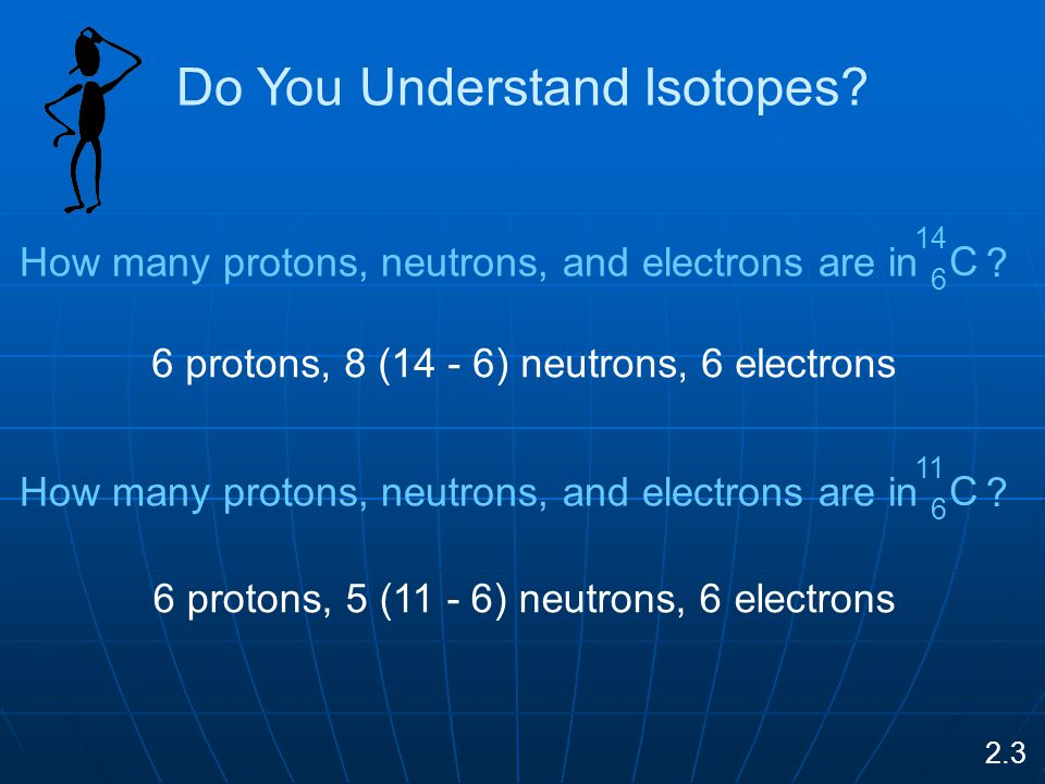 6 protons, 8 (14 - 6) neutrons, 6 electrons 6 protons, 5 (11 - 6) neutrons, 6 electrons Do You Understand Isotopes.