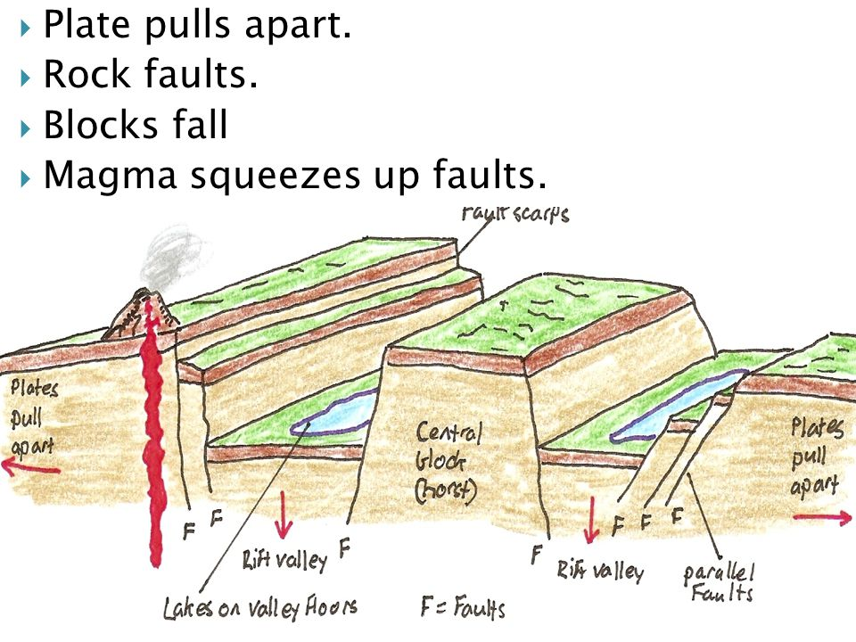  Plate pulls apart.  Rock faults.  Blocks fall  Magma squeezes up faults.