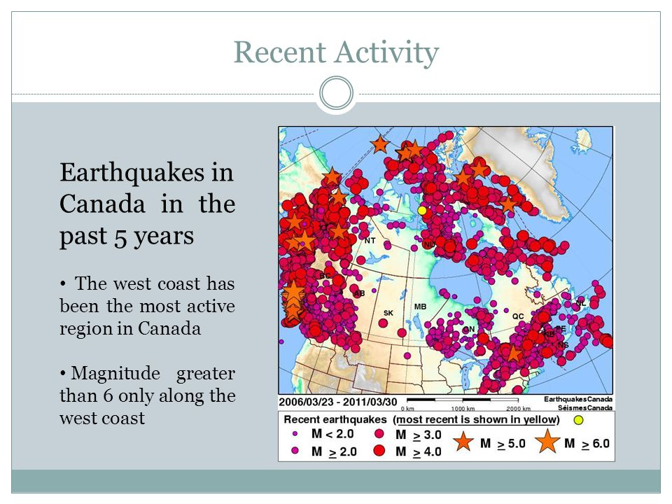 Recent Activity Earthquakes in Canada in the past 5 years The west coast has been the most active region in Canada Magnitude greater than 6 only along the west coast