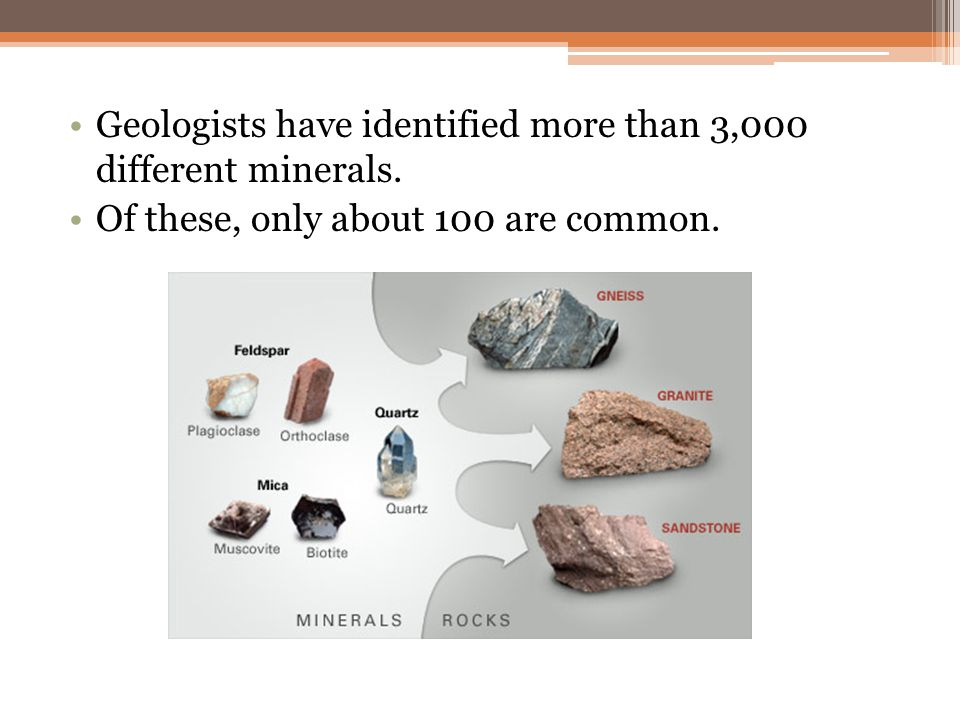 Geologists have identified more than 3,000 different minerals. Of these, only about 100 are common.