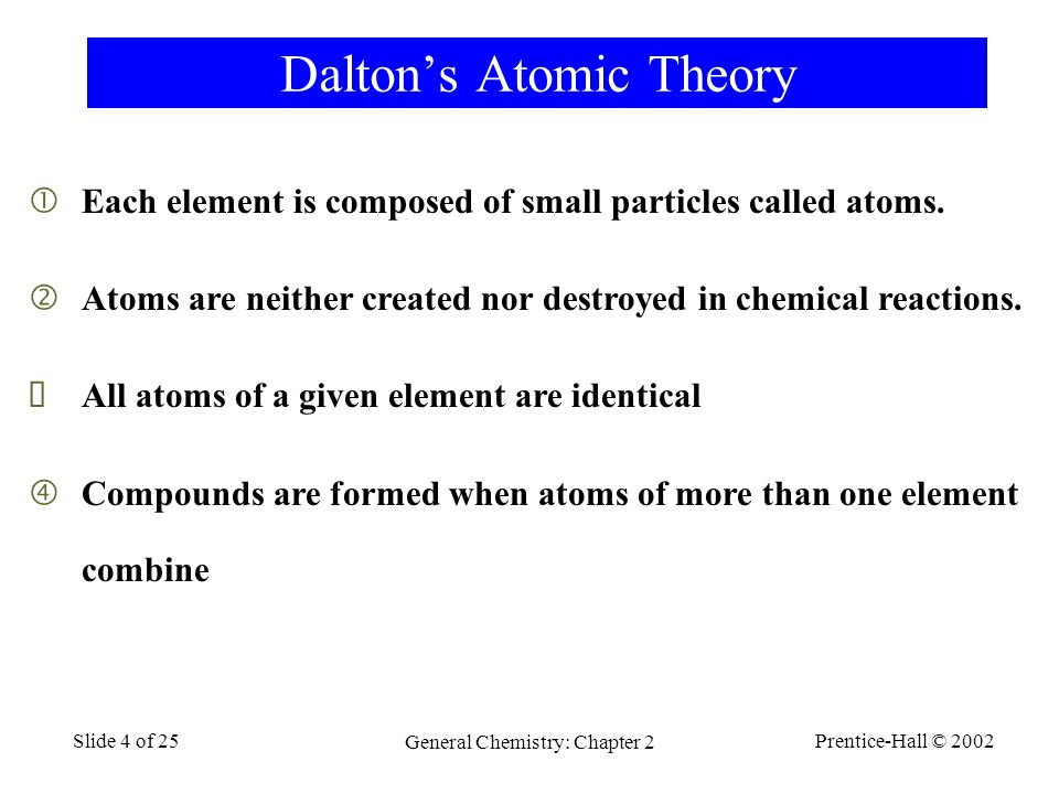 Prentice-Hall © 2002 General Chemistry: Chapter 2 Slide 4 of 25 Dalton's Atomic Theory  Each element is composed of small particles called atoms.