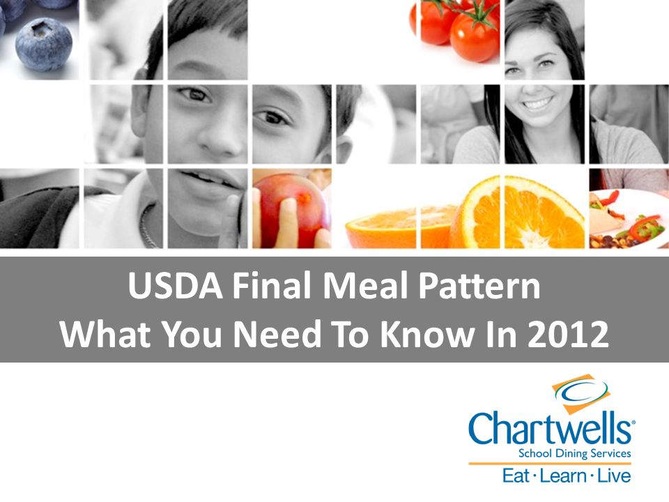 Effective 2012-2013 school year Further changes required in 2013- 2015 2010 Chartwells food and nutrition guidelines New Regulations