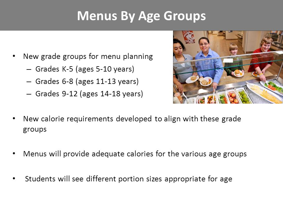 New grade groups for menu planning – Grades K-5 (ages 5-10 years) – Grades 6-8 (ages 11-13 years) – Grades 9-12 (ages 14-18 years) New calorie require