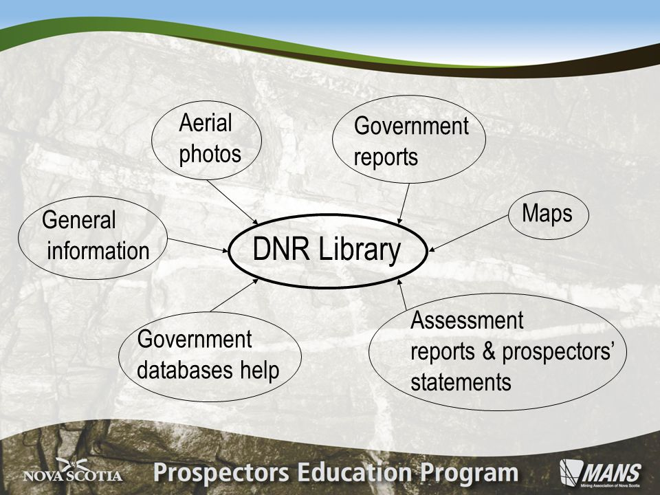 DNR Library General information Aerial photos Government reports Maps Assessment reports & prospectors' statements Government databases help