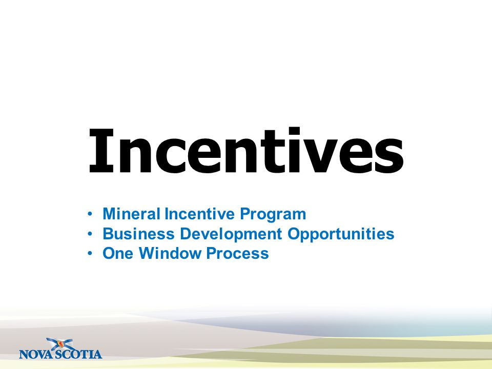 Incentives Mineral Incentive Program Business Development Opportunities One Window Process