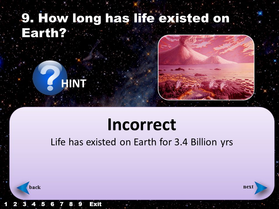 Incorrect Life has existed on Earth for 3.4 Billion yrs back next 9.