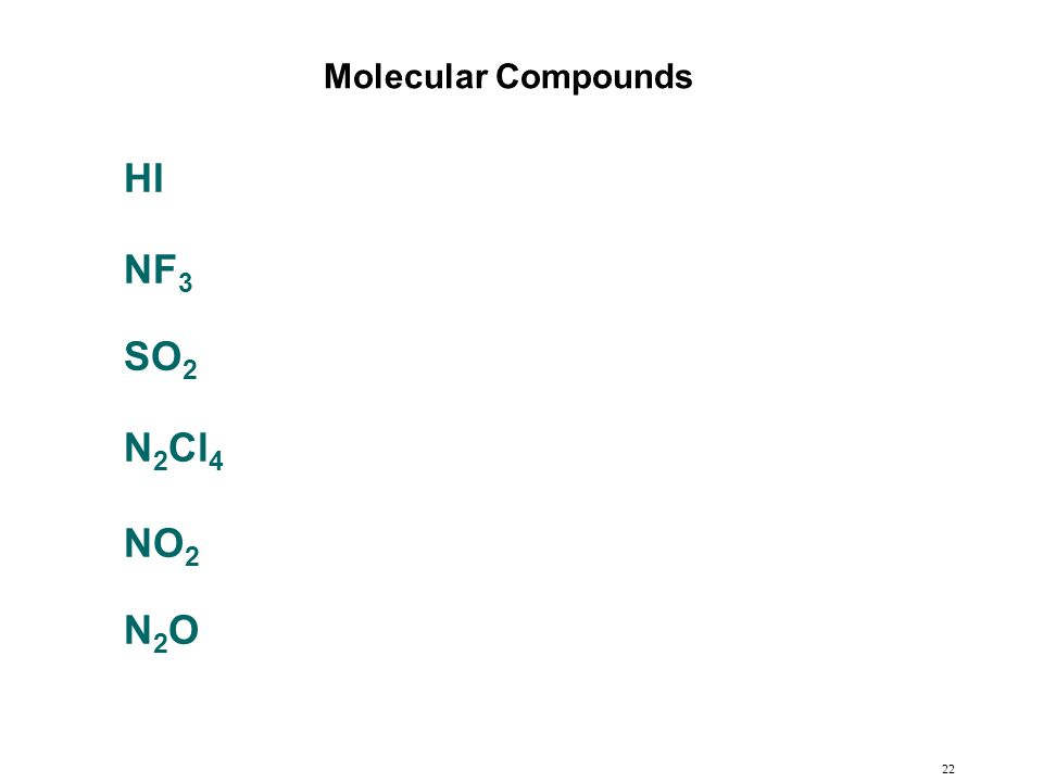 22 HI NF 3 SO 2 N 2 Cl 4 NO 2 N2ON2O Molecular Compounds