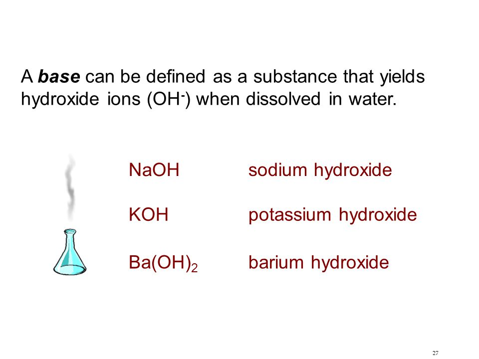 27 A base can be defined as a substance that yields hydroxide ions (OH - ) when dissolved in water. NaOH sodium hydroxide KOH potassium hydroxide Ba(O