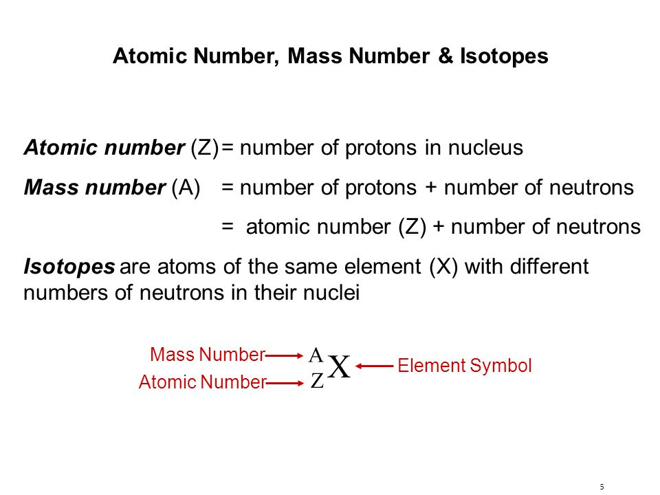 5 Atomic number (Z)= number of protons in nucleus Mass number (A) = number of protons + number of neutrons = atomic number (Z) + number of neutrons Isotopes are atoms of the same element (X) with different numbers of neutrons in their nuclei X A Z Mass Number Atomic Number Element Symbol Atomic Number, Mass Number & Isotopes