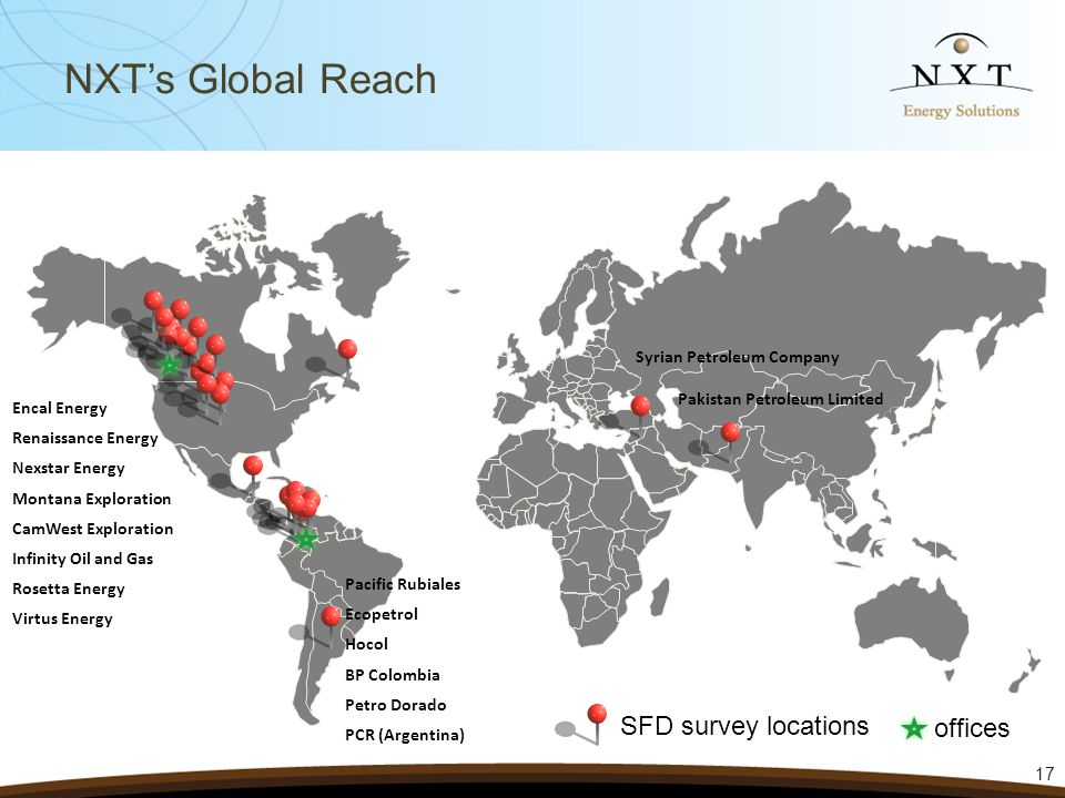 NXT's Global Reach 17 SFD survey locations Encal Energy Renaissance Energy Nexstar Energy Montana Exploration CamWest Exploration Infinity Oil and Gas