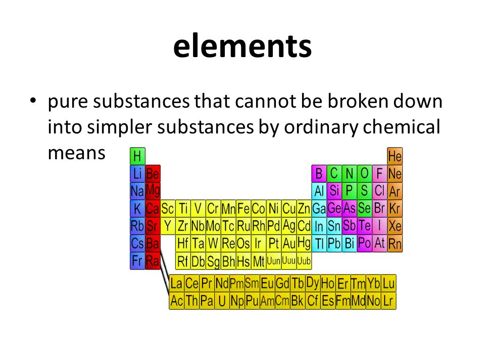 elements pure substances that cannot be broken down into simpler substances by ordinary chemical means