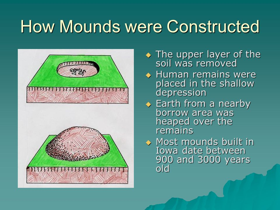 How Mounds were Constructed  The upper layer of the soil was removed  Human remains were placed in the shallow depression  Earth from a nearby borrow area was heaped over the remains  Most mounds built in Iowa date between 900 and 3000 years old