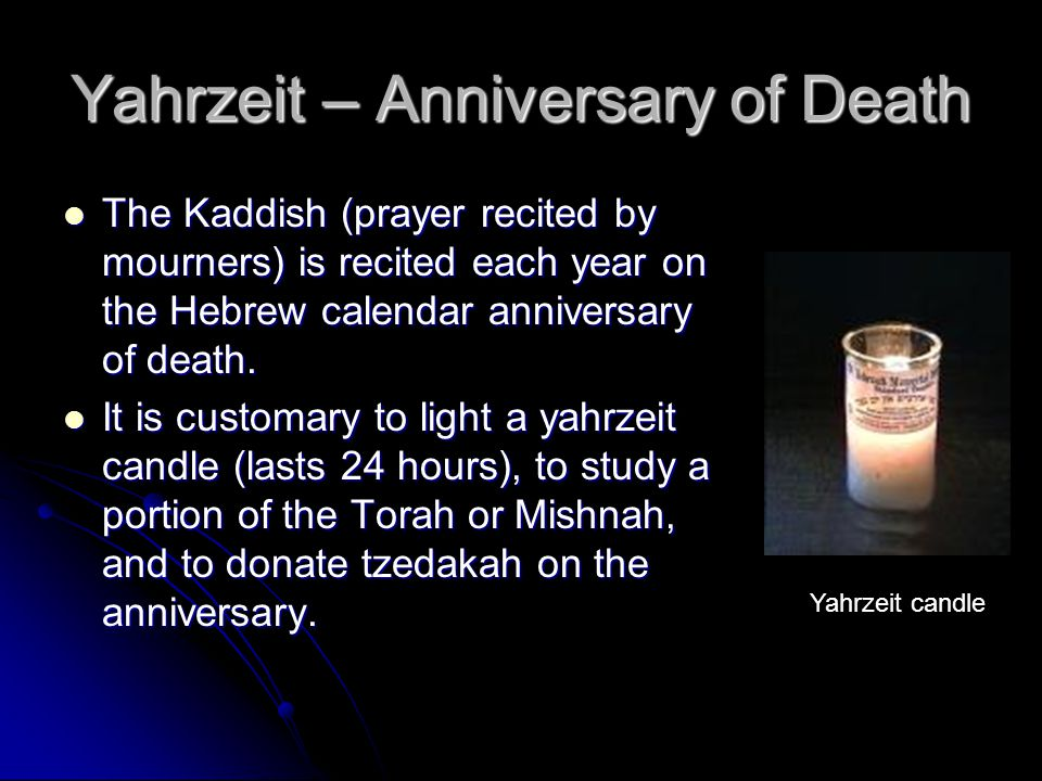 Yahrzeit – Anniversary of Death The Kaddish (prayer recited by mourners) is recited each year on the Hebrew calendar anniversary of death.