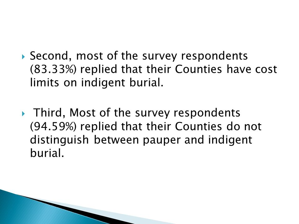  Second, most of the survey respondents (83.33%) replied that their Counties have cost limits on indigent burial.