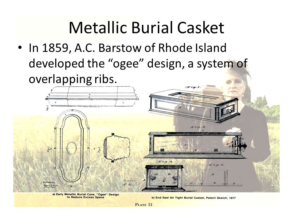 """Metallic Burial Casket In 1859, A.C. Barstow of Rhode Island developed the """"ogee"""" design, a system of overlapping ribs."""