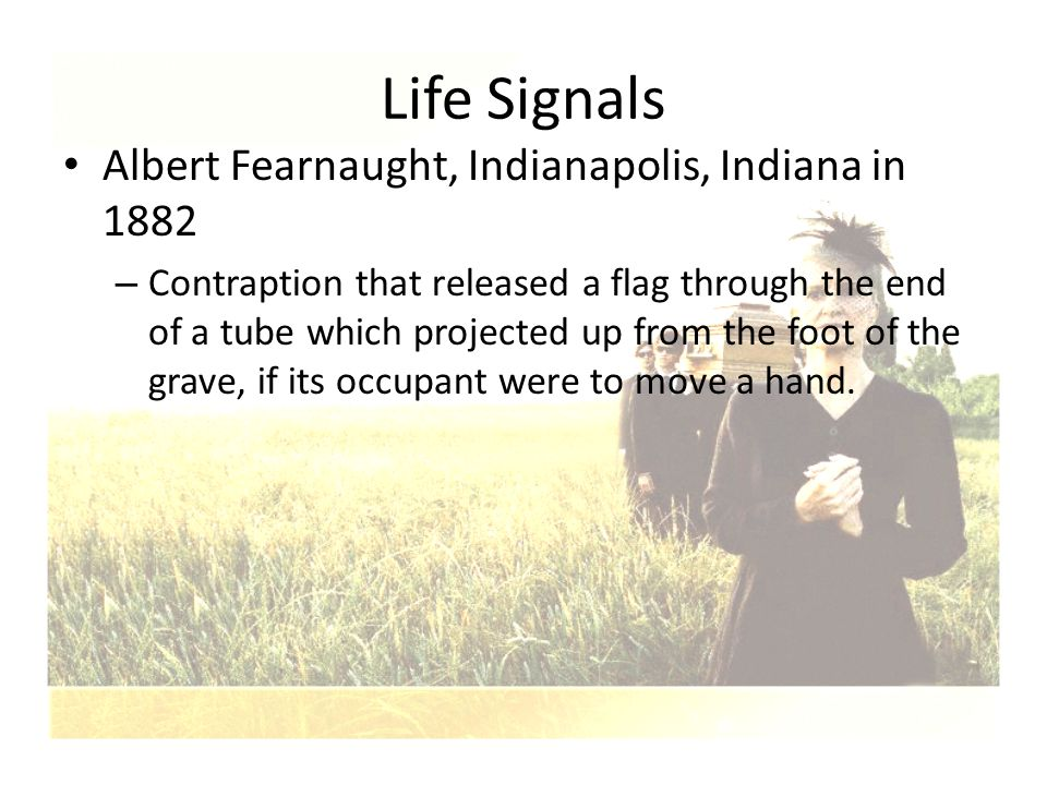 Albert Fearnaught, Indianapolis, Indiana in 1882 – Contraption that released a flag through the end of a tube which projected up from the foot of the