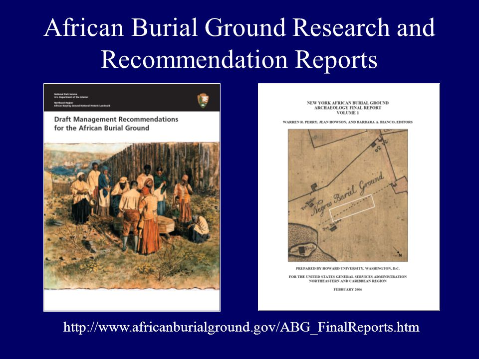 African Burial Ground Research and Recommendation Reports http://www.africanburialground.gov/ABG_FinalReports.htm