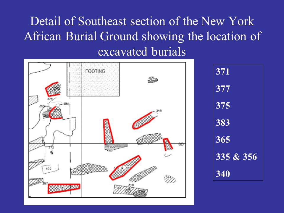 Detail of Southeast section of the New York African Burial Ground showing the location of excavated burials 371 377 375 383 365 335 & 356 340