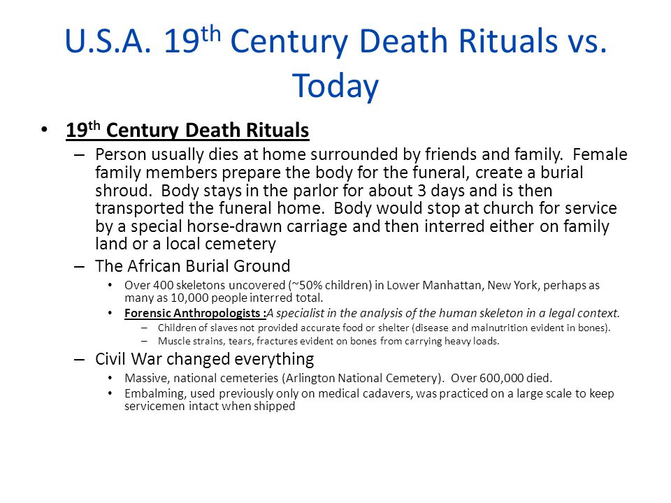 U.S.A.19 th Century Death Rituals vs.