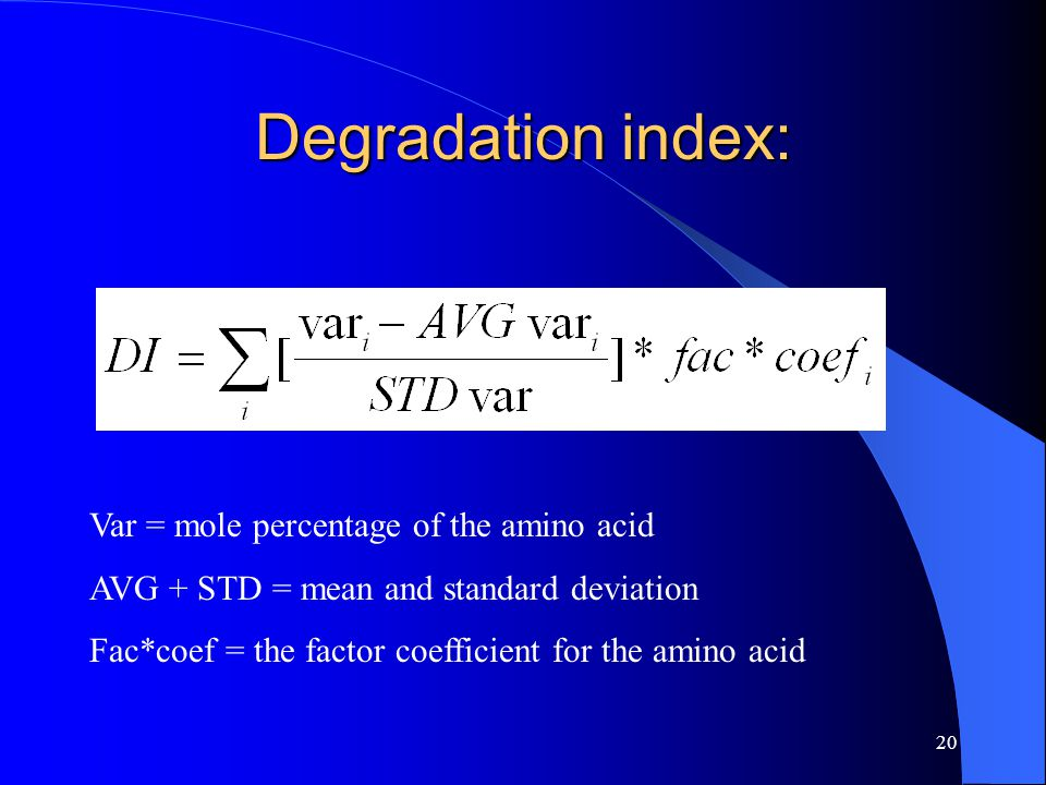 20 Degradation index: Var = mole percentage of the amino acid AVG + STD = mean and standard deviation Fac*coef = the factor coefficient for the amino acid