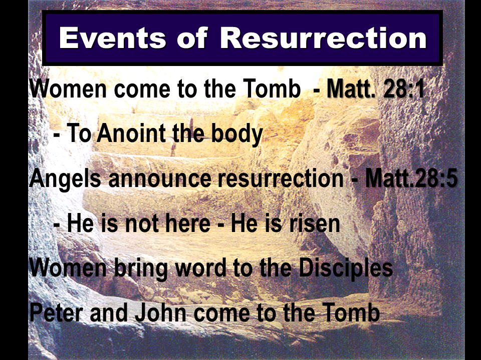 Events of Resurrection Matt. 28:1 Women come to the Tomb - Matt. 28:1 - To Anoint the body Matt.28:5 Angels announce resurrection - Matt.28:5 - He is
