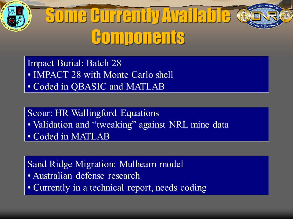 Some Currently Available Components Impact Burial: Batch 28 IMPACT 28 with Monte Carlo shell Coded in QBASIC and MATLAB Scour: HR Wallingford Equations Validation and tweaking against NRL mine data Coded in MATLAB Sand Ridge Migration: Mulhearn model Australian defense research Currently in a technical report, needs coding