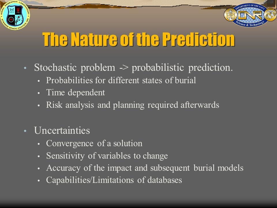 The Nature of the Prediction Stochastic problem -> probabilistic prediction.