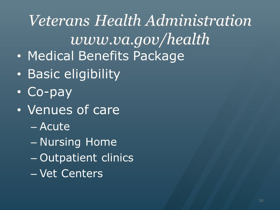 Veterans Health Administration www.va.gov/health Medical Benefits Package Basic eligibility Co-pay Venues of care – Acute – Nursing Home – Outpatient clinics – Vet Centers 14