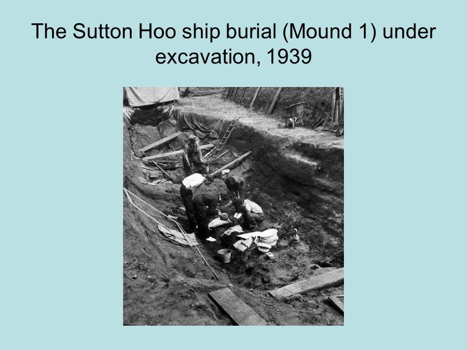 The Sutton Hoo ship burial (Mound 1) under excavation, 1939