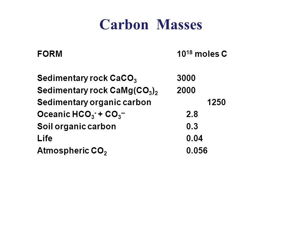 Carbon Masses  FORM10 18 moles C  Sedimentary rock CaCO 3 3000  Sedimentary rock CaMg(CO 3 ) 2 2000  Sedimentary organic carbon1250  Oceanic HCO 3 - + CO 3 -- 2.8  Soil organic carbon 0.3  Life 0.04  Atmospheric CO 2 0.056