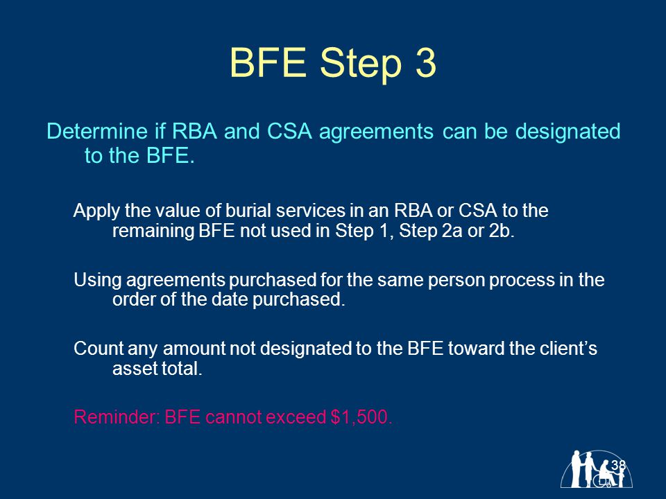 38 BFE Step 3 Determine if RBA and CSA agreements can be designated to the BFE.