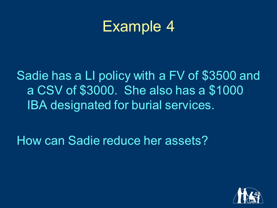 48 Example 4 Sadie has a LI policy with a FV of $3500 and a CSV of $3000.