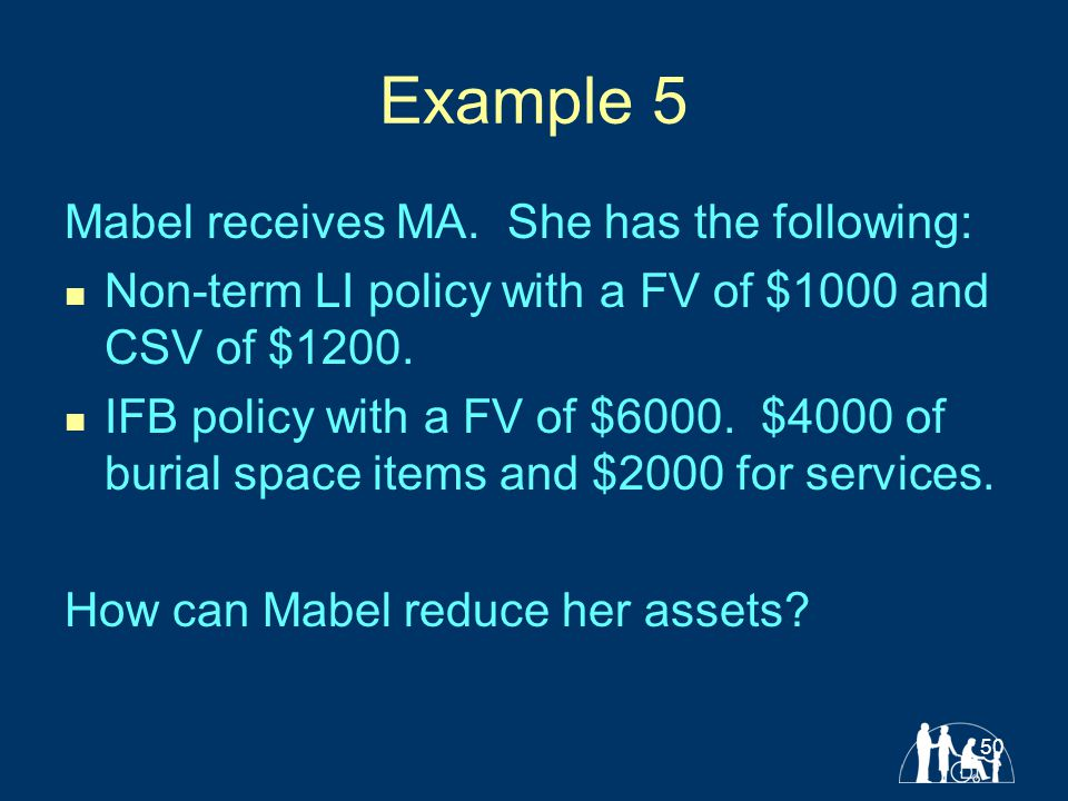 50 Example 5 Mabel receives MA.