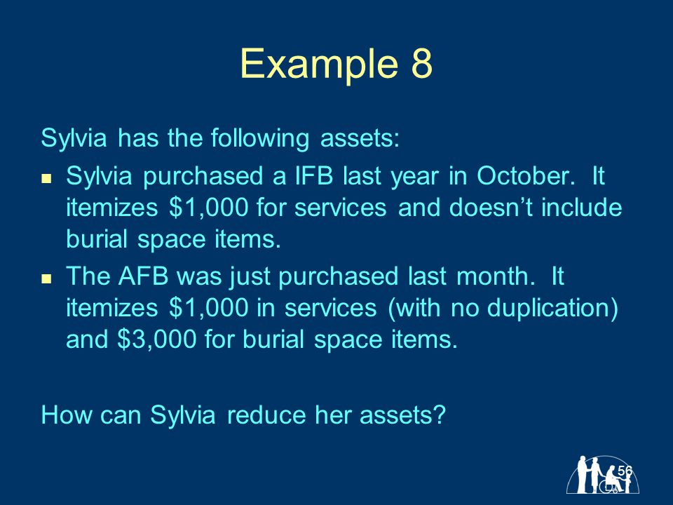 56 Example 8 Sylvia has the following assets: Sylvia purchased a IFB last year in October.