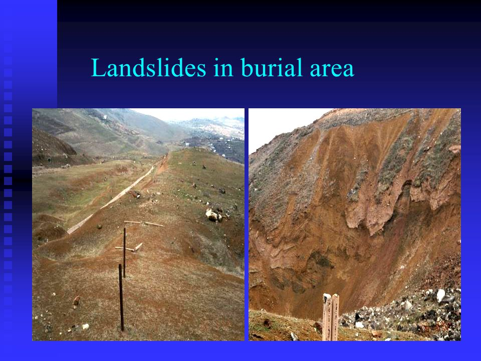 Landslides in burial area