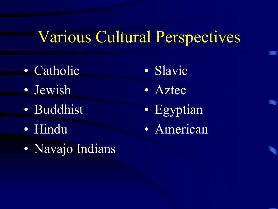 Various Cultural Perspectives Catholic Jewish Buddhist Hindu Navajo Indians Slavic Aztec Egyptian American